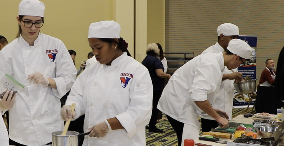Culinary students during the culinary competition