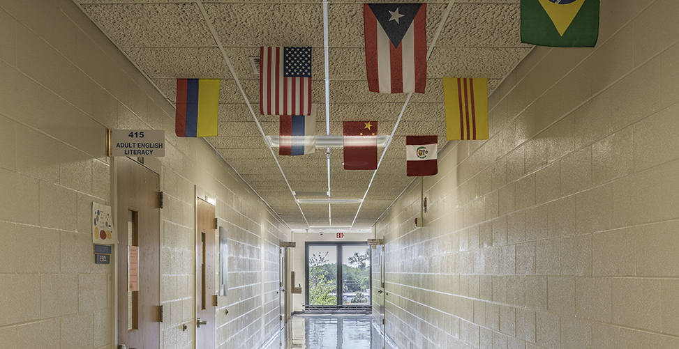 Hallway with a lot of flags